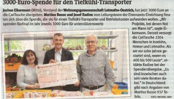 3000-Euro-Spende für den Tiefkühl-Transporter! - 25.05.2018 IKZ