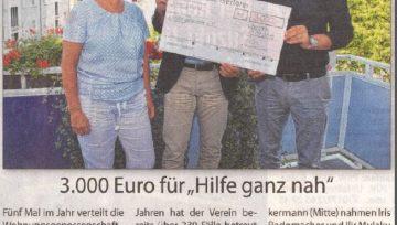 """3.000 Euro für """"Hilfe ganz nah"""" - 29.09.2018 Stadtspiegel"""