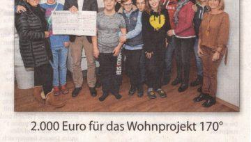 2.000 Euro für das Wohnprojekt 170° - 26.01.2019 IKZ