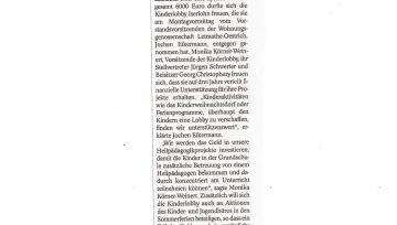6.000 Euro für die Arbeit der Kinderlobby - 22.05.2019 IKZ