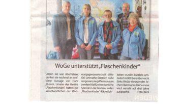 """WoGe unterstützt """"Flaschenkinder""""- 05.12.2019 Stadtspiegel"""